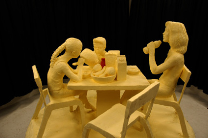 &quot;Milk, Moms, Mornings&quot; Butter Sculpture